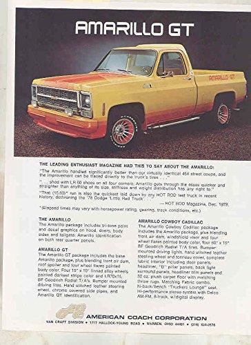 1979 Amarillo GT Cowboy Cadillac GMC American Coach Pickup Truck Brochure
