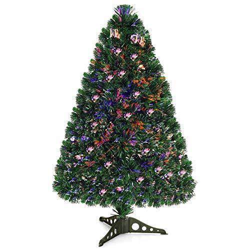 Goplus 3ft Artificial PVC Christmas Tree Pre-Lit Fiber Optic Tree