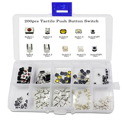 OCR Tactile Push Button Switch Micro Momentary Tact Assortment Kit (200pcs Push Button Switch)