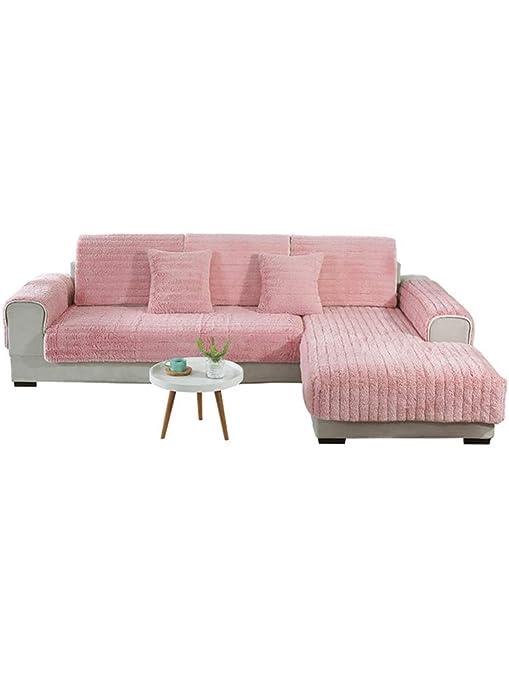 SQINAA Felpa,De Lujo Color sólido Slipcover del sofá Antideslizante Protector de colchón en Forma de l Sofá Seccional-Rosa 70x120cm(28x47inch)