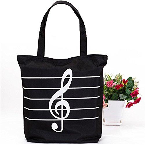 (Sound Harbor MG-345 Music Symbols Print Canvas Tote Handbag Shoulder Shopping Bags(Black -High notes))