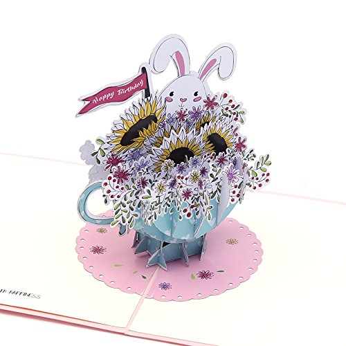 Liif Teacup Bunny Greeting Pop Up Card, Pop Up Birthday Card, Happy Birthday Card, Funny Birthday Card For Kids, Mother, Wife, Daughter, Friends