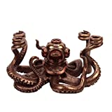 Bronze Nautical Steampunk Octopus Dive Helmet Candle Holder