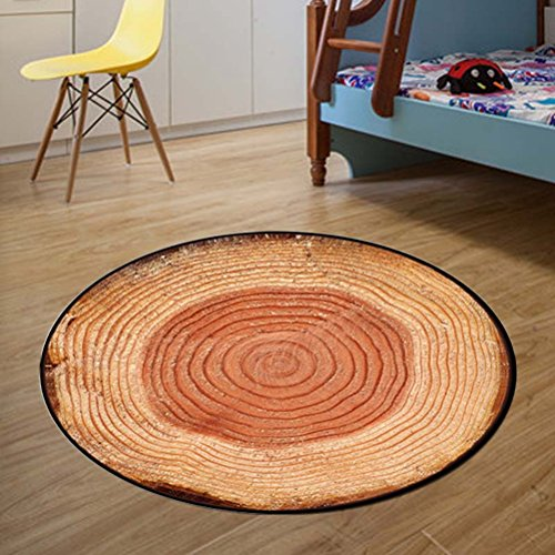 AiseBeau Comfort Flannel Cartoon Round Kitchen Rug Comfort Round Kitchen Floor Mat Non-Slip Round Floor Mat Soft Entrance Mat Door Mat 4' by AiseBeau