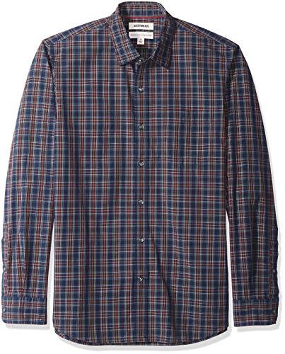 Goodthreads Men's Standard-Fit Poplin Plaid Shirt, Navy Burgundy, Large