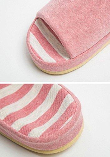 Pantofole In Cotone Con Tempi Bronzo (tm), Ciabatte Con Plateau Unisex A Righe Rosa