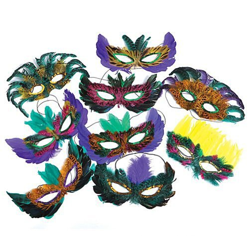 25 Pack of Mardi Gras Masquerade Party Feather Fantasy -