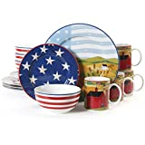 Gibson 91760.16 Dinnerware Set America The Beautiful Patriotic 16 pc Home & Garden