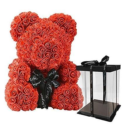 takestop/® Rose Fiori Artificiali Orsetto Orso Orsacchiotto Confezione H 20CM Piccolo San Valentino Fiori Colorati Finti Anniversario Romantico Regalo Composizione Floreale Festa Party Rosa//Fucsia