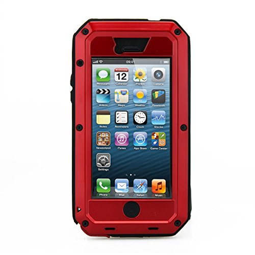 iPhone 5C Case, Tomplus Gorilla Glass Luxury Aluminum Alloy Protective Metal Extreme Shockproof Military Bumper Heavy Duty Cover Shell Case Skin Protector for Apple iPhone 5C (red)