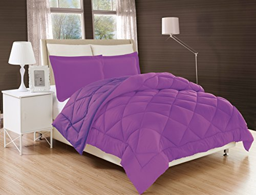 Gorgeous Home Down Alternative Comforter Bed Cover 2/3pc Set With Pillow Shams Ultra Soft Double Filled Stitched Quilted Solid Plain Light Weight Bedding Dressing (LAVENDER PURPLE, KING) (Quilted Lavender Pillow)