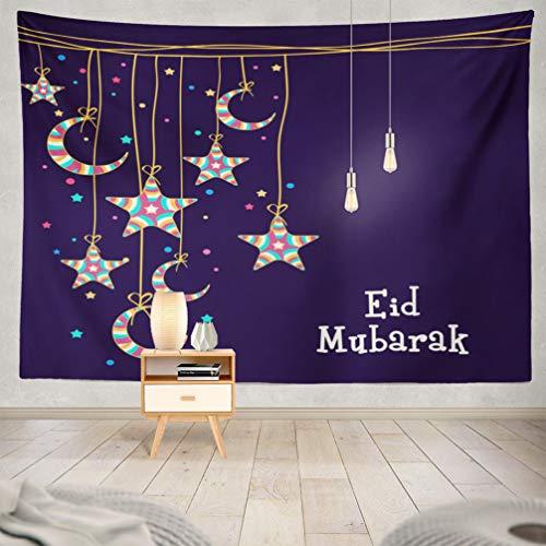 KJONG Moon-Stars Decorative Tapestry,Muslim Festival Eid Mubarak Celebration Greeting Card 60X80 Inches Wall Hanging Tapestry for Bedroom Living Room