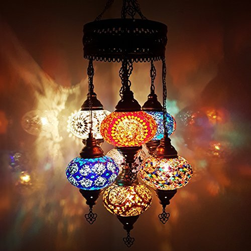 Unico Turco Lampadina Ottomano Stile Mosaico In Vetro Lampadario 7  lampadina + gratis lampadine_Chand D