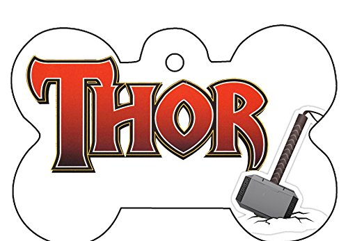 - Thor God Hammer Sign Symbol Pet ID Dog Cat Tag Identification Personalize Custom Bone Hear Shape with Key Ring (Thor, Bone)