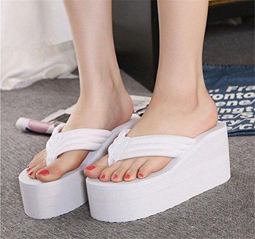 Sandalo Infradito Con  Tacco Alto E Plateau Moda Donna Bianco  Con  b29f4b
