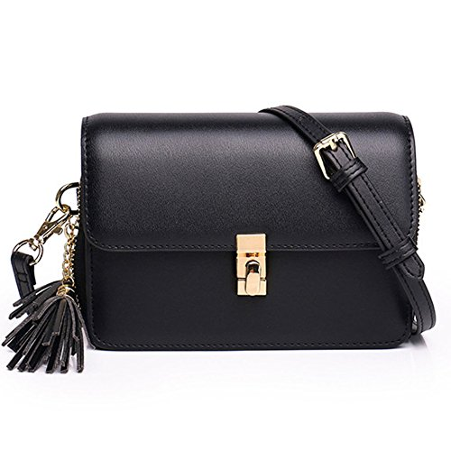 Shoulder Buckle Phone Hit Womens Tassel Small Cell Colored Pocket Sequined Bag Black Leather Square Crossbody Mhsxn q1YKtY