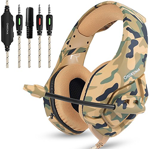 Gaming Headset for PS4 New Xbox one PC Mac, ONIKUMA Over Ear 3.5mm Headphones with Mic Noise Isolating Deep Bass Surround for Game by AFUNTA -Camouflage