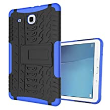 "MOONCASE Galaxy Tab E 9.6-inch Case Built-in Kickstand Hybrid Armor Case Detachable 2 in 1 Shockproof Tough Rugged Dual-Layer Case Cover for Samsung Galaxy Tab E 9.6"" Blue"