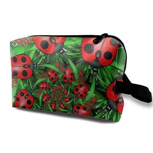 - Ladybug Background Cosmetic Bags Makeup Organizer Bag Pouch Zipper Purse Handbag Clutch Bag