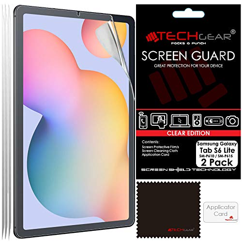 TECHGEAR 2 Pack Galaxy Tab S6 Lite 10.4″ Screen Protectors (SM-P610 / SM-P615), Ultra CLEAR Screen Protector Guard Cover Designed for Samsung Galaxy Tab S6 Lite 10.4″