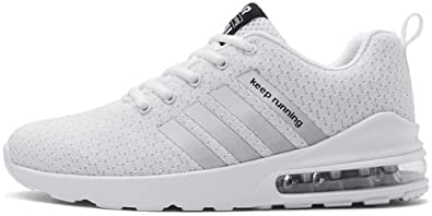3fd1668cb46 tqgold® Basket Homme Femme Running Fitness Chaussure de Sport Course Mode  Sneakers Blanc Taille 38