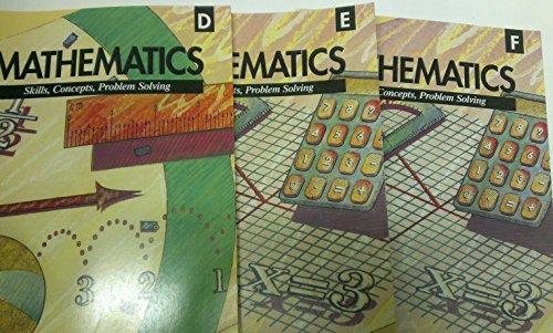 3 Volumes of Mathematics - Skills, Concepts, Problem Solving Workbooks: Level D, Level E, & Level F (Grade 6, Grade 7, & Grade 8)