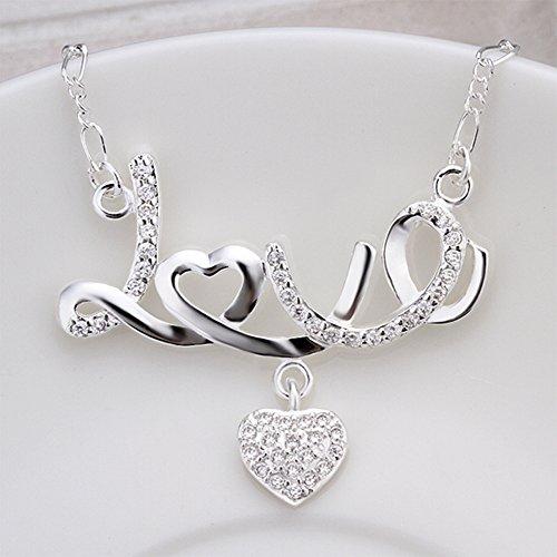 MESE London Collier Amour Coeur Collier 925 Sterling En Argent Crystal Pendentif - Coffret Cadeau Élégant