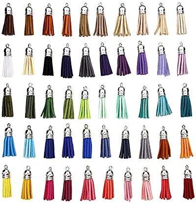 Leayao Lot de 100 pendentifs /à Pompons en Cuir et Daim avec Capuchon pour la Fabrication de Bijoux et Porte-cl/és 40 mm Couleurs Assorties