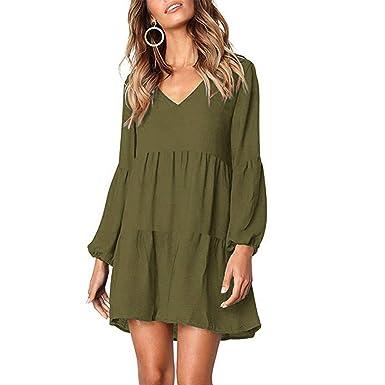 ea30519bea2 YANMAY Women's V Neck Long Sleeve Ruffle Tunic Dress Army Green Small 1042-8