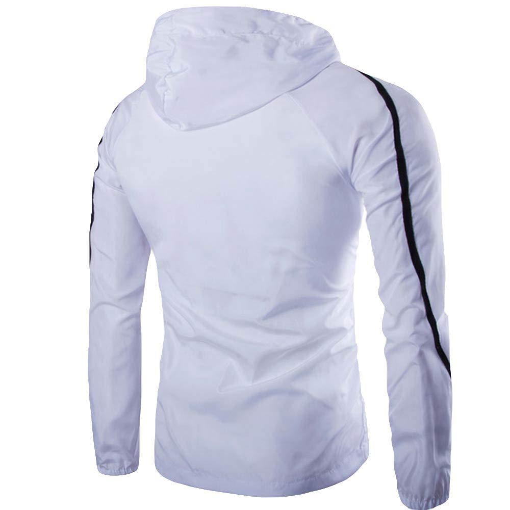 Theshy Mens Pure Color Zipper Pullover Long Sleeve Hooded Sweatshirt Tops Blouse Mens Blouse Long Sleeve
