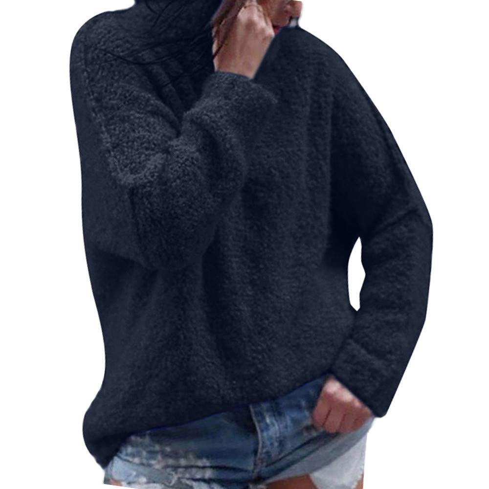 Btruely Sweatshirt Damen Winter Herbst Rollkragen Tops Loose Fit Pullover Vintage Oberteile Sport Sweater Langarm Plüsch Strickpullover Mode Mantel