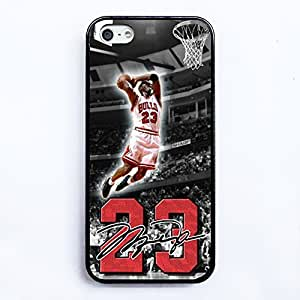 NBA Great Legendary Basketball Star Michael Jordan for Iphone 5/5s Cover Case with Silicone Soft Shell -black case DIY By LINDAS