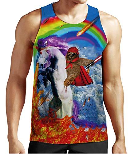 Idgreatim Mens Summer Gay Pride Tank Tops Sport Gym Tees Novelty Sleeveless Vest Rainbow Unicorn Print Cute Garment for Men L