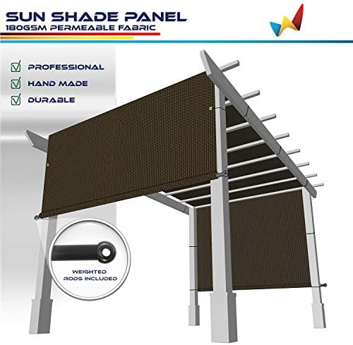 Windscreen4less 10 x20 Outdoor Pergola Replacement Shade Cover Canopy for Patio Privacy Shade Screen Panel with Grommets on 2 Sides Includes Weighted Rods Breathable UV Block Brown