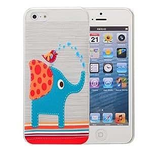 elefante y el patrón de aves patrón pc caso cepillado para el iphone 5 / 5s