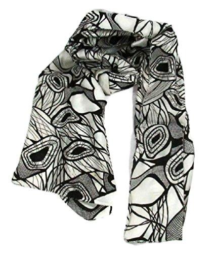 100% Pure Hand Woven Indian Silk Scarf Women's Fashion Eco Friendly Fair Trade (Black & White Mosaic, 69