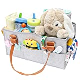 Baby Diaper Caddy Organizer | Nursery Storage Bin | Baby Shower Gift Basket | Newborn Registry Must Haves | Boy Girl Diaper Storage Bin for Changing Table | Portable Car Travel Organizer