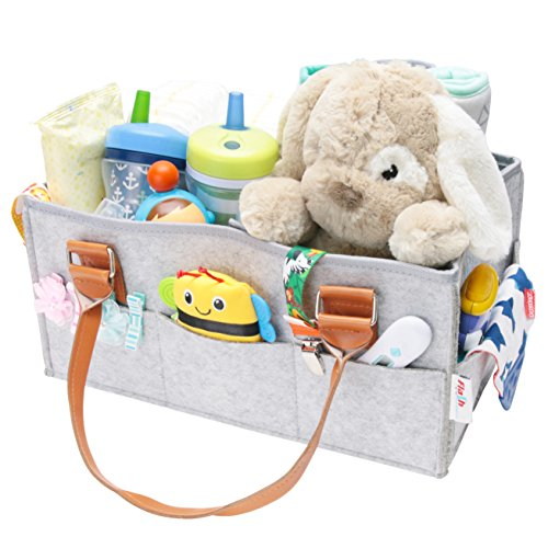 Flash Ecommerce Baby Diaper Caddy Organizer | Nursery Storage Bin Basket | Newborn Registry Must Haves | Boy Girl Diaper Storage Bin for Changing Table | Portable Car Travel Organizer