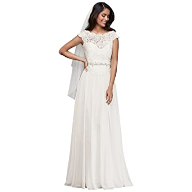 David\'s Bridal Illusion Lace and Chiffon Petite Wedding Dress Style ...