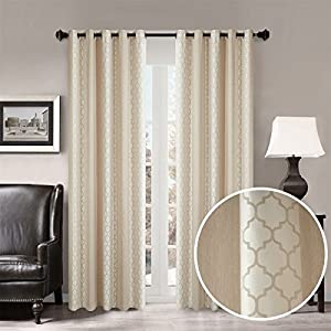 "Dreaming Casa Room Darkening Window Curtains Grommet Top Window Treatment Moroccan Print Blackout Curtain for Bedroom Living Room Beige 84 Inches Long 72"" W x 84"" L (2 Panels)"