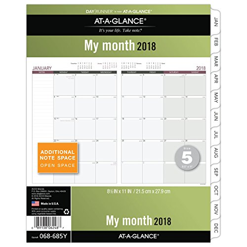 er Monthly Planner Refill, January 2018 - December 2018, 8-1/2