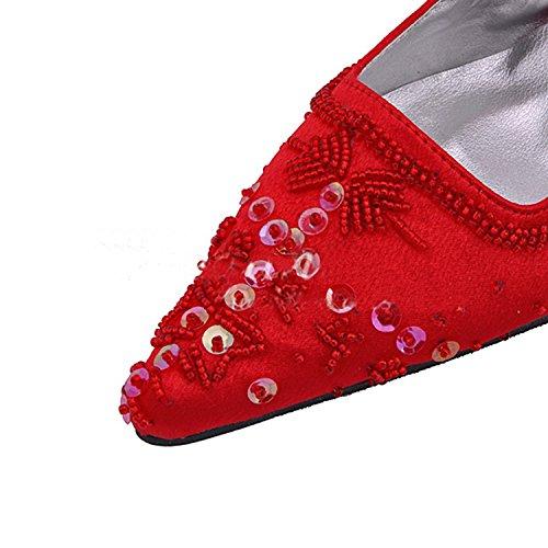 Kevin Fashion mz586Ladies hecho a mano lentejuelas satén novia Formal de boda zapatos de bombas de fiesta Red