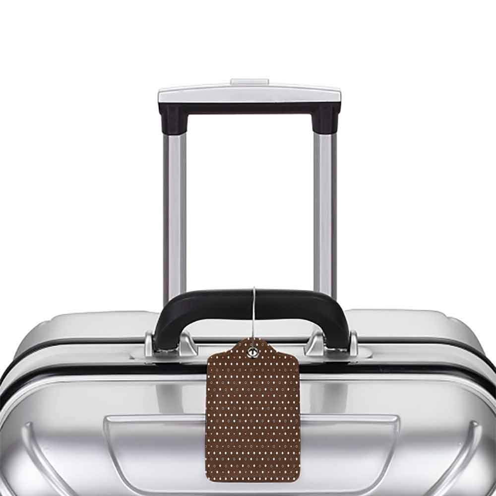 Personalized luggage tag Modern Different Sized Dots Bubble Like Forms Abstract Pattern in Contrast Easy to carry Dark Brown Light Pink White W2.7 x L4.6