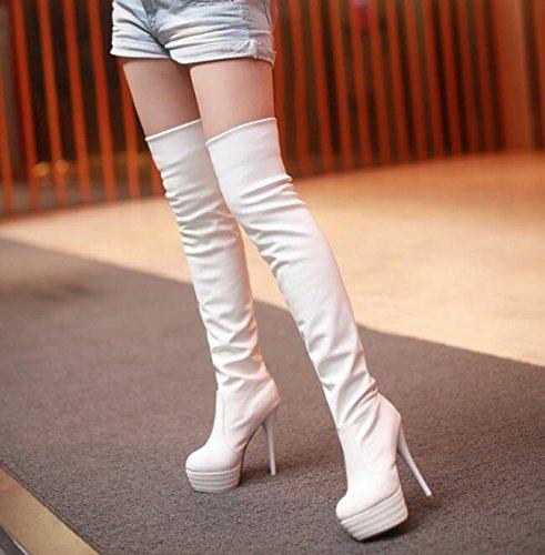 Herbst und Winter Overknee-Stiefel Damenstiefel Weiß