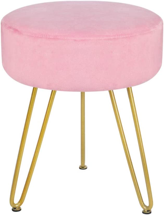 Velvet Footrest Stool Ottoman Round Modern Upholstered Vanity Footstool Side Table Seat Dressing Chair with Golden Metal Leg Pink