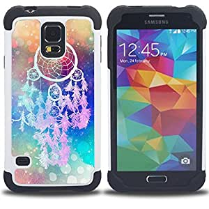 - catcher Art Hipster Indian Colors/ H??brido 3in1 Deluxe Impreso duro Soft Alto Impacto caja de la armadura Defender - SHIMIN CAO - For Samsung Galaxy S5 I9600 G9009 G9008V