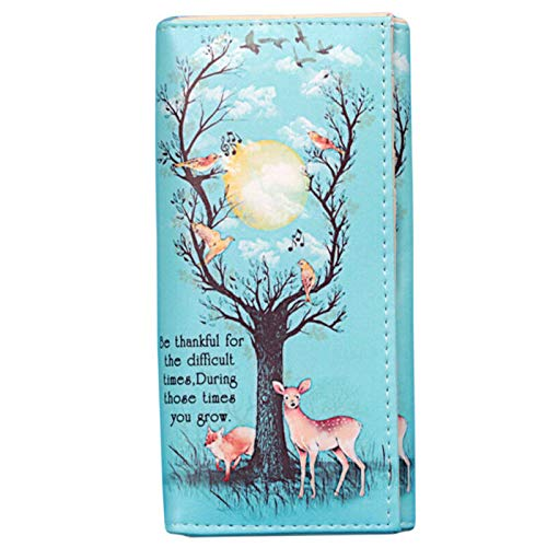 Creative Printing Women Leather Clutch Bag Wallet Long Card Holder Purse QP (Model - MagpieDeer) (Calfskin Embossed Wallet)