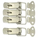 Flyshop 4 Set Stainless Steel Hardware Cabinet Boxes Spring Loaded Latch Catch Toggle Hasp