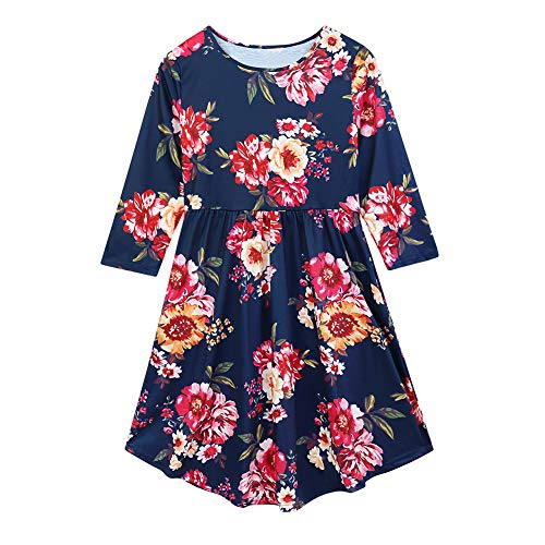 453ce069e BabiBeauty Mommy and Me Family Matching Dress Flower Long Sleeve Round Neck  Maxi Dress