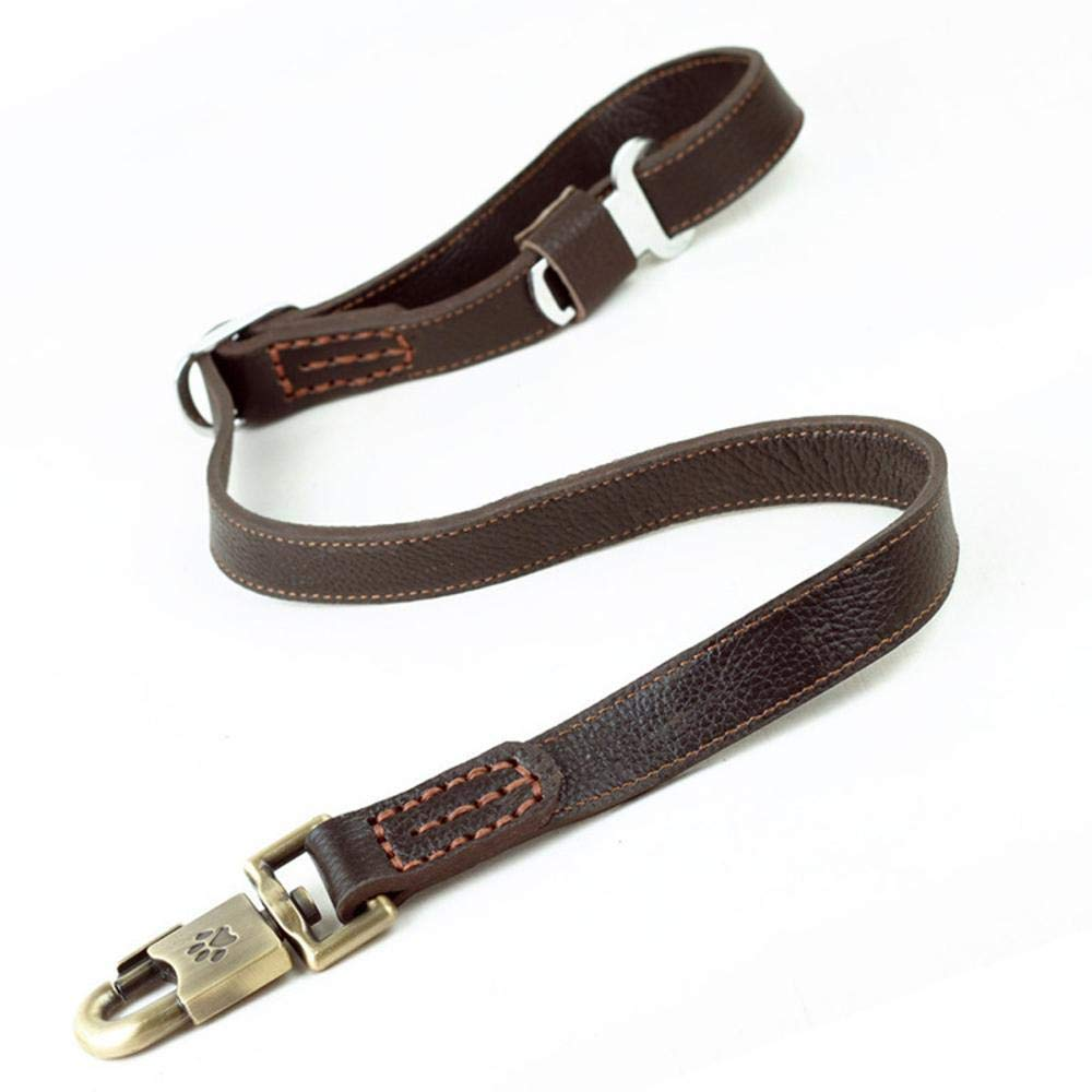 A Hjyi Pet Leather Head Layer Leather car Safety Traction Belt